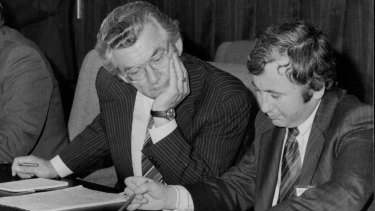 Bob Hawke and Bill Kelty at Parliament House on July 6th, 1979.