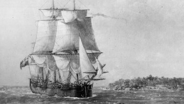 A painting of HMS Endeavour, which researchers believe they have discovered off the coast of the United States.