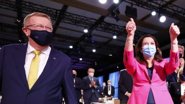 John Coates, president, Australian Olympic Committee, with Premier Annastacia Palaszczuk at announcement in Tokyo on Wednesday night of the 2032 Brisbane Games.