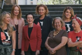 Ambassadors for the 2019 Sydney Women's March, including Lord Mayor Clover Moore (third from left).