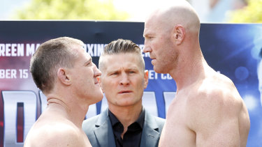 Paul Gallen and Barry Hall face off before their controversial draw in November.