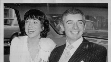 Nicholas Whitlam and bride Judith after their wedding in London in 1973.