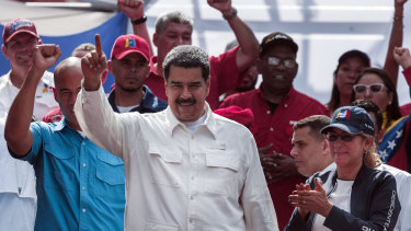 Nicolas Maduro, Venezuela's president  gestures during an anti-imperialist rally outside Miraflores Palace in Caracas, Venezuela, on Saturday.