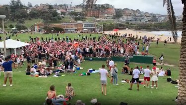 Revellers at Bronte Beach on Christmas Day.