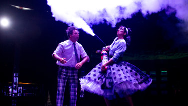 Clowns Goos Meeuwsen and Helena Bittencourt perform in Spiegeltent production, Life: The Show.