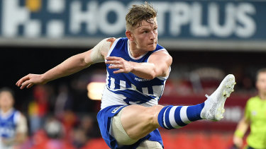 Jack Ziebell in full flight for the Kangaroos.