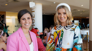Celebrity stylist Jess Pecoraro and Kate Waterhouse attend Moet Chandon Stakes Day luncheon.