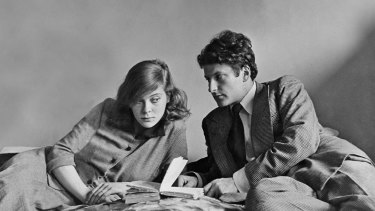 The young Lucian Freud with his second wife, Lady Caroline Blackwood, in Paris in 1949.