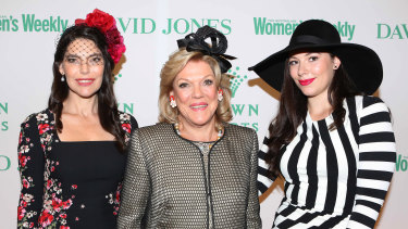Packer ladies (from left) Gretel Packer, Ros Packer and Francesca Barham arrive at the Crown Resorts Autumn Ladies Luncheon to celebrate Sydney's Autumn Racing carnival in 2014.