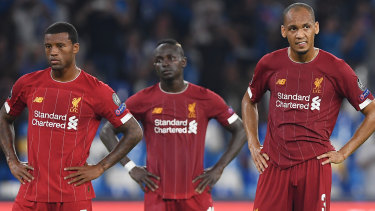 Liverpool players disappointed after losing to Napoli on September 17, 2019.