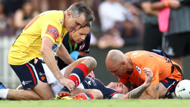 Roosters veteran Jake Friend was knocked out during round one of the season.