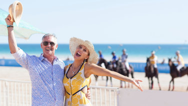 Actor Andrew McFarlane and TV host Catriona Rowntree at the Cable Beach Polo in Broome.