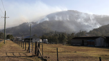 Smoke seen from a bushfire near the rural town of Canungra in the Scenic Rim region on Friday.