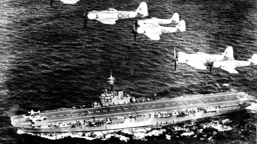 HMAS Sydney in September, 1951, had on board three squadrons of aircraft.