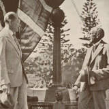 Ernest Fisk and former PM Billy Hughes unveiling the monument in Wahroonga which commemorates the first wireless message, 1935.