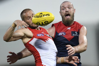 Melbourne skipper Max Gawn, right, playing against Sydney in round 15.