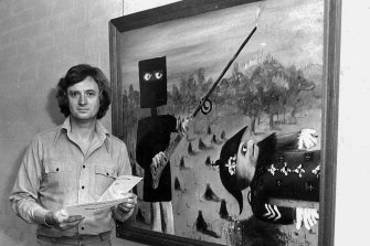 Mollison with one of Sidney Nolan's Ned Kelly paintings.