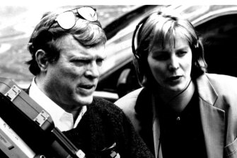 Filmmakers D. A. Pennebaker and Chris Hegedus shooting the 1993 documentary The War Room.