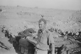 Lieutenant John Rosel in his dug-out in the Libyan desert outside Tobruk.