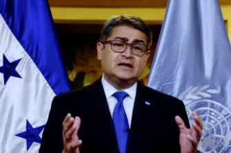 Juan Orlando Hernández Alvarado, President of Honduras, pictured speaking to the United Nations General Assembly, is accused of protecting drug traffickers.