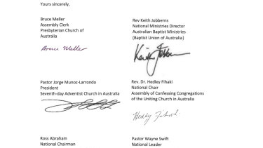 Some of the signatures on the letter from church leaders.