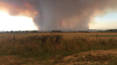 A view of the Bunyip State Park blaze. Note how the plume has risen and spread out.