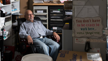 Morris Morcos in his pharmacy in Granville, where he has worked for 45 years.