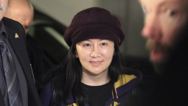 Huawei chief financial officer Meng Wanzhou  arrives for a court hearing in Canada.