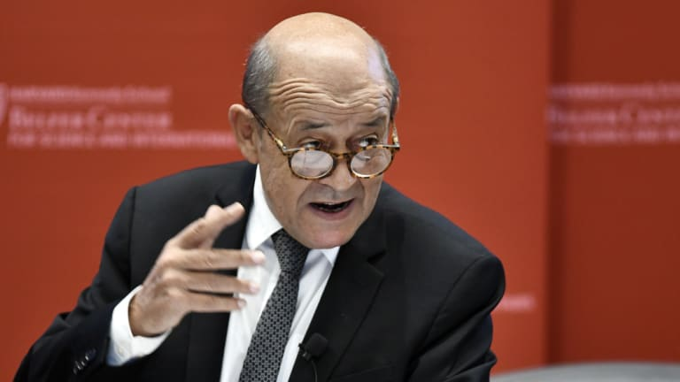 French Foreign Affairs Minister Jean-Yves Le Drian speaks at Harvard University on Friday.