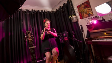 Singer Lucinda Franco in her home studio. She estimates her original music makes up 10 per cent of her income, with the rest coming from working as a cover artist and vocal coach.