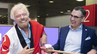 Richard Branson and Virgin Australia CEO Paul Scurrah at Brisbane Airport in November last year.