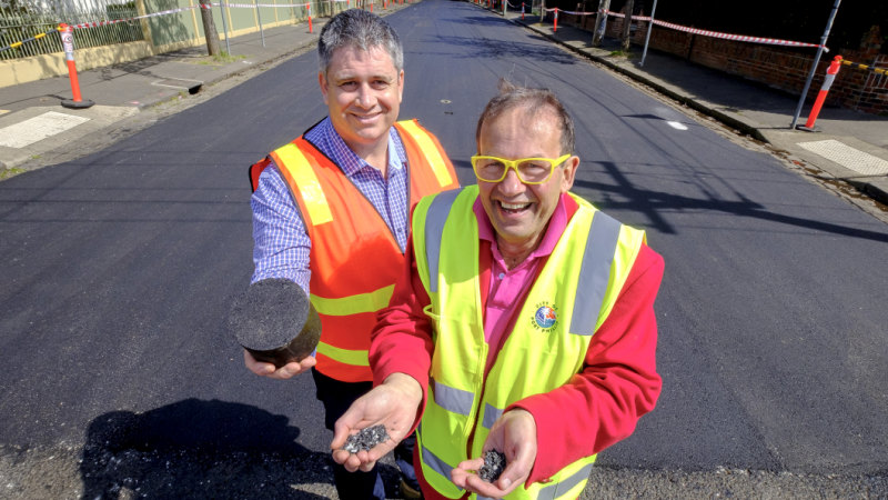 Recycled plastic hits the road in St Kilda