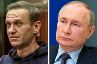 Alex Navalny and Vladimir Putin.