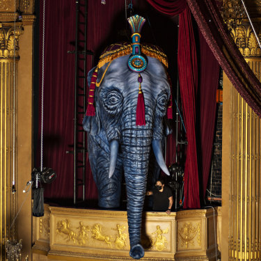 Moulin Rouge! The Musical's 220-kilogram elephant was carved from Styrofoam with a chainsaw.