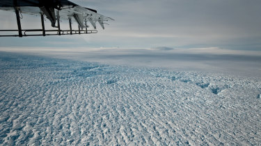 Crevasses near the grounding line of Pine Island Glacier, which is is now losing about 45 billion tonnes of ice a year.