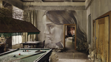 Rone painted murals in 12 rooms, on wallpaper he screenprinted.