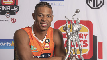 Scott Machado of the Taipans poses during the 2020 NBL Finals Launch at Crown Palladium in Melbourne on Monday.