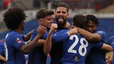 Chelsea's Olivier Giroud celebrates scoring the opener.