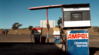 An old Ampol petrol station in rural outback Australia.