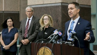 Palm Beach County State Attorney Dave Aronberg speaks to the media on Tuesday.