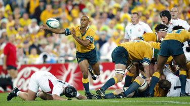 George Gregan during the 2003 Rugby World Cup final against England.