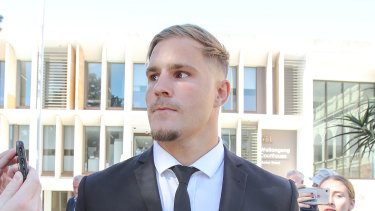 Jack de Belin leaves court in Wollongong this week after the start of his sexual assault case.