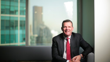 Outgoing IFM boss Brett Himbury in the company's Melbourne office.
