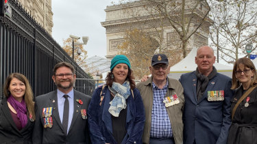 A group of Australian current and former Navy servicemen and women at the WWI armistice commemorations in Paris. Left to right: Jacqueline McDonald, Lee Webster, Jacky McDonald, Lindsay McDonald, Phillip McDonald, Robyn McDonald.