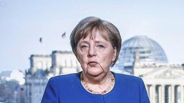 Germany's Chancellor Angela Merkel addressing the nation about the coronavirus pandemic.