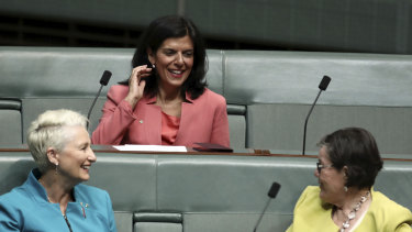 Former Liberal MP Julia Banks (centre) sits on the crossbench on Thursday with Kerryn Phelps (left) and Cathy McGowan (right).