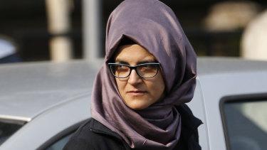 Hatice Cengiz, the Turkish fiancee of Saudi journalist Jamal Khashoggi, walks outside the Saudi Arabia consulate in Istanbul on Wednesday.