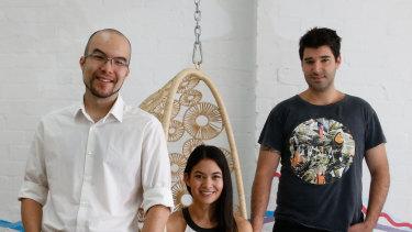 Canva co-founders Cameron Adams, Melanie Perkins and Cliff Obrecht.