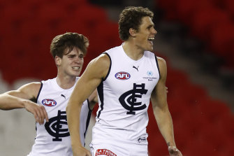 Charlie Curnow is all smiles after booting a goal for the Blues.