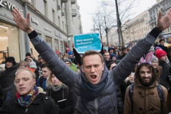 Alexei Navalny, pictured at a rally in Moscow in January 2018.